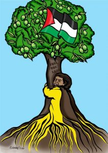 """Painting of a person hugging a tree and growing roots with it. The trunk says """"Free the land"""""""