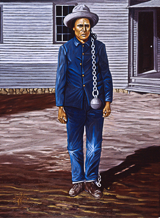 Painting of Leonard Peltier's great uncle with a ball & chain looped over his shoulder.