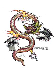 """Painting of a dragon ripping apart prison guard towers. Quote by Ho Chi Minh that reads """"When the prison gates open the real dragon comes out"""""""