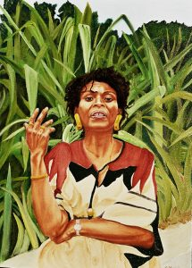 Painting of Assata Shakur against a background of plants