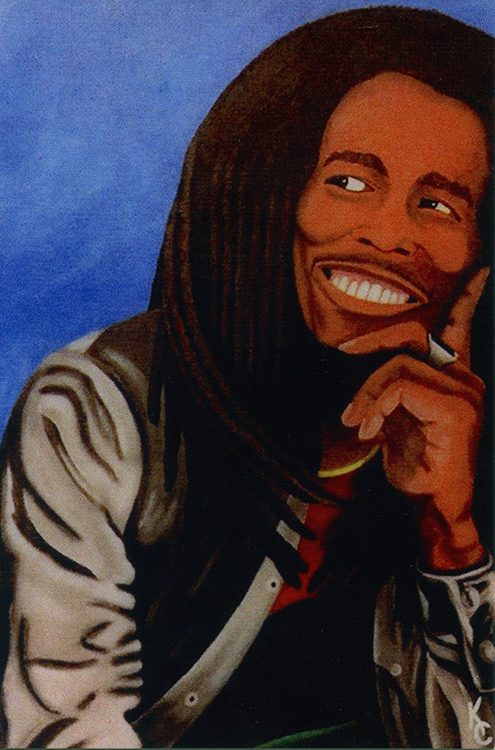 Painting of Bob Marley smiling and looking off to the side.