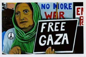"""Painting of a woman in hijab holding a sign that reads """"Free Gaza."""" A Black person stands behind her and a white person stands behind them both. Another sign reads """"No More War."""""""
