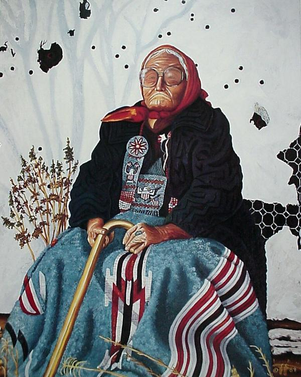 Painting of Grandma Jumping Bull seated with her cane and wearing traditional Lakota dress, an overcoat, and a bonnet.