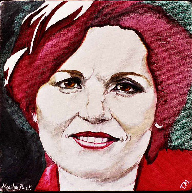 Painting of Marilyn Buck smiling