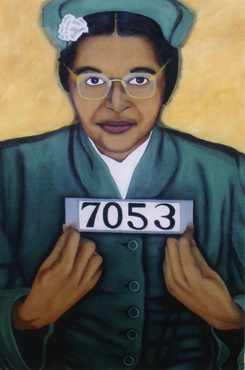 Painting of Rosa Parks holding her booking number.