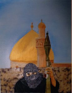 Painting of a guerilla in front of a mosque
